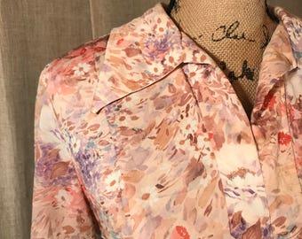 DESERT FLOWER// Womens VINTAGE Dress Retro 1970s Hippie Bohemian Floral Pinup Rockabilly Dapper Midi Modest Peach