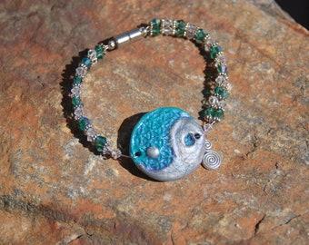 "Polymer Clay and Swarovski Crystal Bracelet, Beaded Yin Yang Bracelet, Yin Yang Charm Bracelet, ""A Perfect Pitch"""