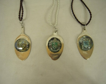 Repurposed Hammered Spoon Necklace with Hogwarts Crest under Glass