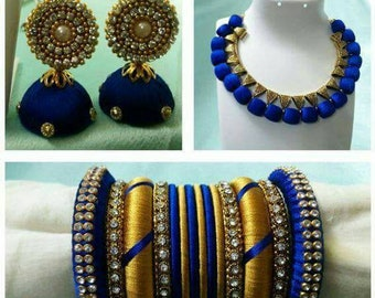 Blue and golden silk thread jewelry set for beautiful women and girls