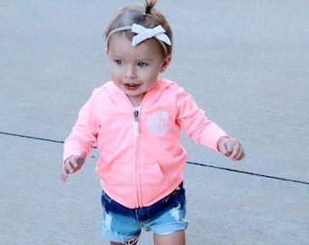 Kids Monogram Jacket, Girls Monogrammed Zip Up Jacket, Baby Girl Personalized Jacket, Toddler Personalized  Jackets, Toddler Monogram Hoodie