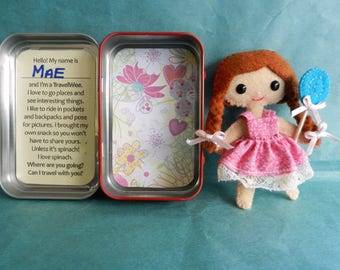 Mini Felt Doll Travel Wee Altoid Tin Pocket Pal