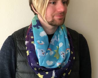 rainbow narwhal and star whale infinity  Scarf