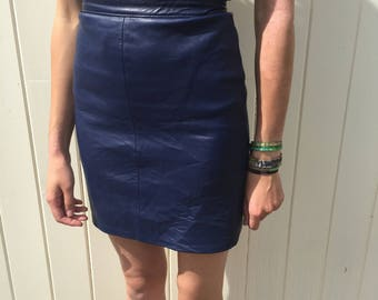 Vintage Leather High Waisted Pencil Skirt