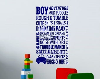 Boys Room Decor-Boy-Adventure-wall quote-Imagination-wall decals-wall saying-children bedroom decor-Nursery wall decor-children wall art