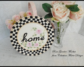 Vintage Round Stately Checked Plate, Hand Painted, Home, Pink Roses, Decorative Display Plate, Home Decor, Accent, Word Plate, ECS