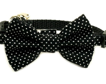 Black Polka Dots Bow Tie smal available NO Collar