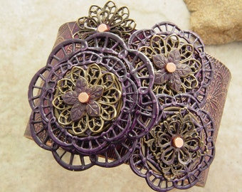 Embellished and Etched Copper Cuff Bracelet, Plum and Brass Filigree, 1.5""