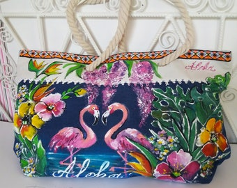 Tropical Bag, Hand Painted Bag, Aloha Handbag, Flamingo Bag, Handpainted Flamingo Bag, Aloha Summer Bag, Tropical Bags, Bag With Flamingo