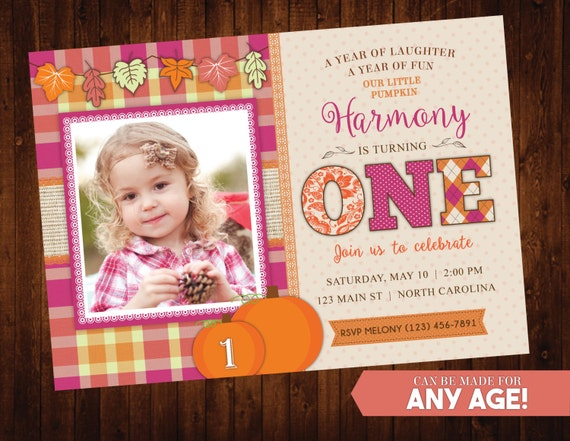 Fall Pumpkin Birthday Invitation // Rustic Fall Birthday Party // First Birthday Invite // Halloween Birthday // Burlap