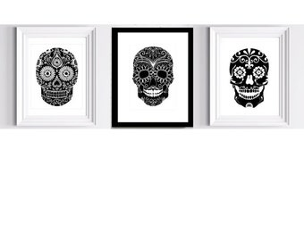 Set of 3 Art Prints - Dia de los Muertos -  Day of the Dead 8 x 10 in. Perfect for framing.