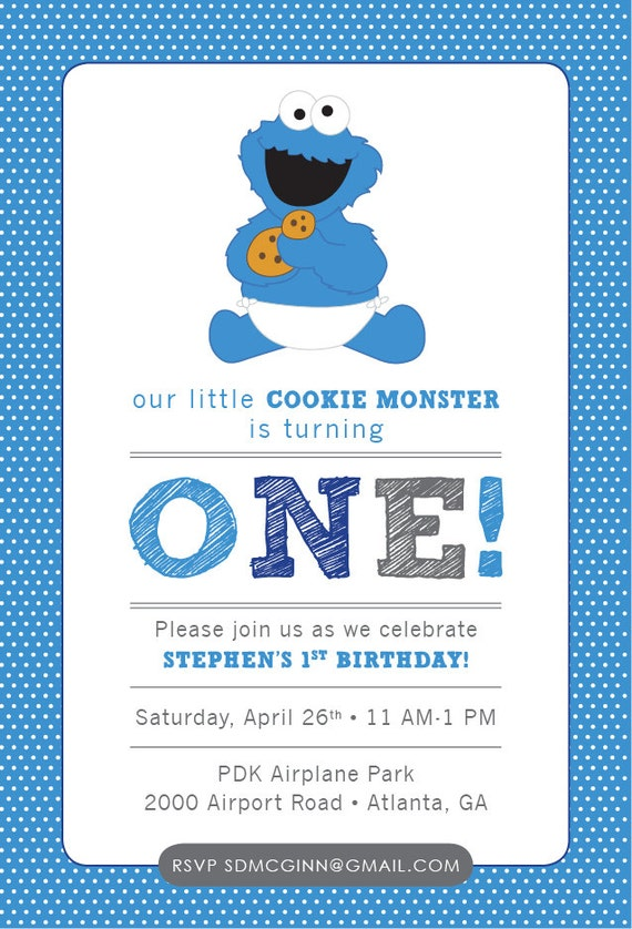 Cookie monster sesame street baby birthday invitation blue filmwisefo
