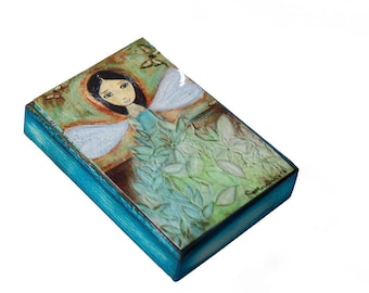 Butterflies Fairy - ACEO Giclee print mounted on Wood (2.5 x 3.5 inches) Folk Art  by FLOR LARIOS