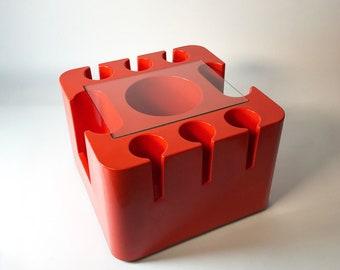 Sergio Mazzo, 1967, Artemide Milano, Italien: Orange Mitte des Jahrhunderts trolley Bartisch Bacca / 1960er-Jahre-Design-retro-Bar Warenkorb Tabelle oder Mcm Beistelltisch