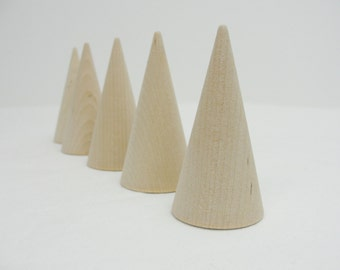 "5 Wooden cones 3"" tall, wooden contemporary Christmas tree, unfinished DIY"