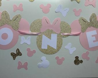 Pink Gold Minnie Mouse Banner - Birthday Banner - Minnie High Chair Banner - Cake Smash Banner - Photo Shoot Prop - Baby Shower Banner