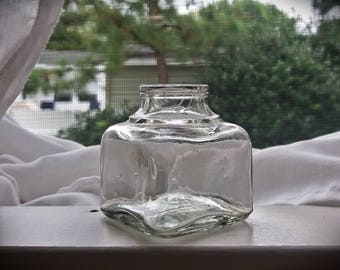 Antique Bottle- Early c1900s Clear Ink Well Jar