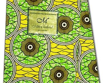 African Fabric - U-Pick Blue, or Green~Sold by 6 Yard ~ Authentic UK Import, Mitex Holland Wax Print Batik Ankara