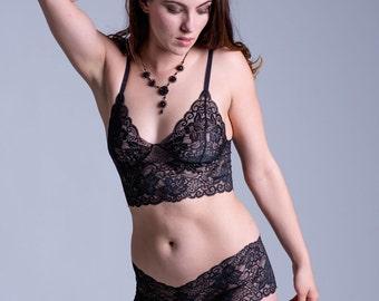 Black Lace Bra - See Through Sheer 'Sassafras' Style Bra - Women's Lingerie - Custom Fit Made To Order