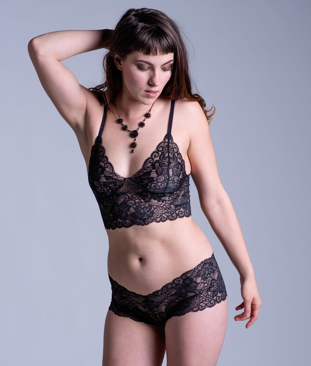 black lace bra see through sheer 'sassafras' style