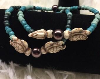 Turtle Stretch Bracelet, Turtle Jewelry, Beach Bracelet, Sea Turtle Bracelet, Couples Bracelet, Turquoise Bracelet, Friendship Bracelet
