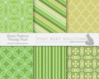 Green Patterns Variety Pack: Digital Papers, set of 6 (Stripes, Circles, Moroccan, Fleur-de-Lis)