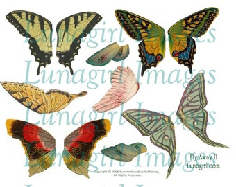 Larger BUTTERFLY WINGS digital collage sheet Fly Away Home, Vintage Butterflies, altered art fairies fairy wings printable ephemera DOWNLOAD