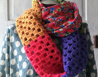 SCARF long colorful versitile infinity scarf tube scarf cowl scarf fashion scarf hand crocheted with flower fabric detail bright colors