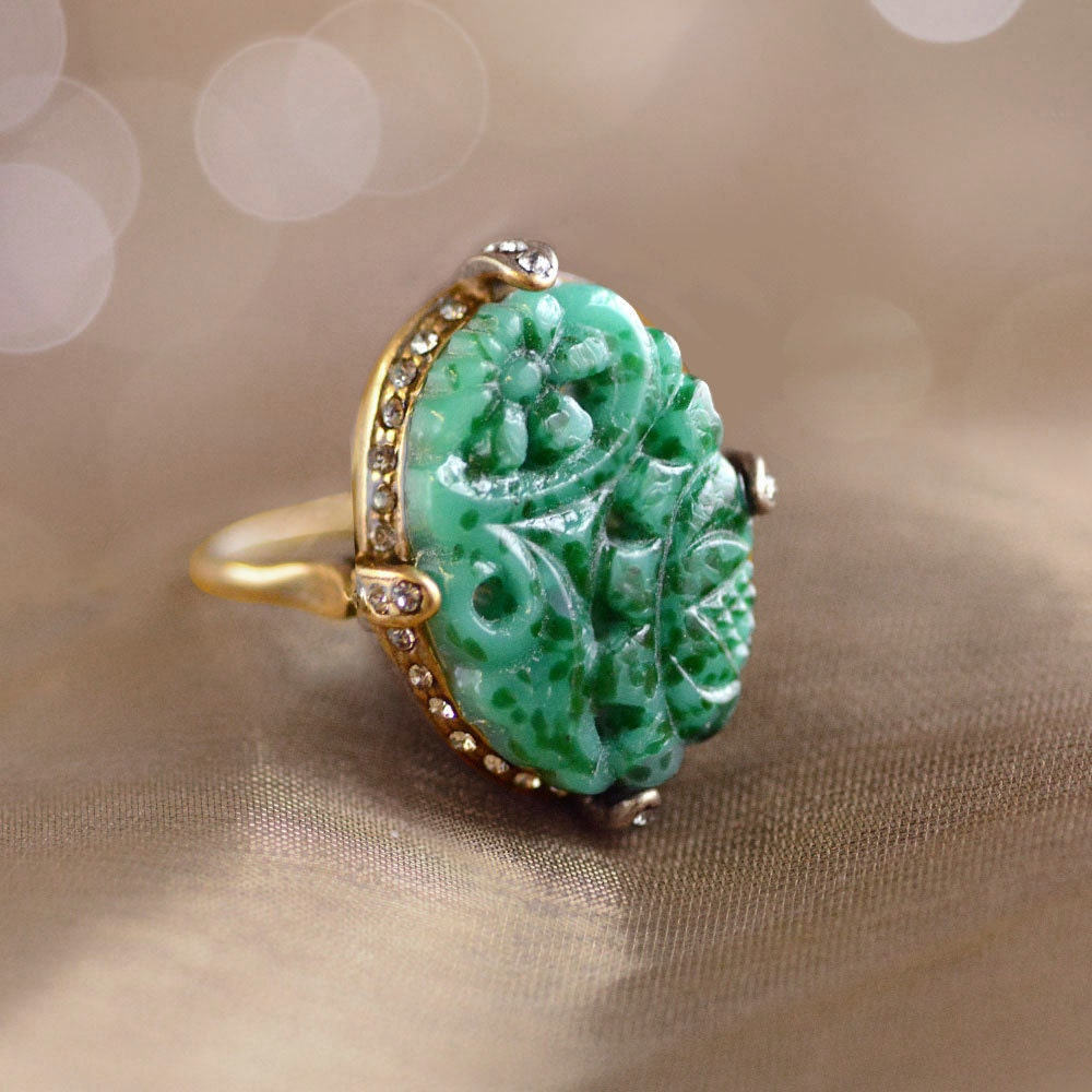 Green Agate Ring Gold