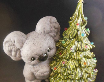 Ceramic Christmas Tree with Koala - colored bulbs for lighting  - dated 1992 - Pretty unique - Light up tree - No base - Koala Christmas
