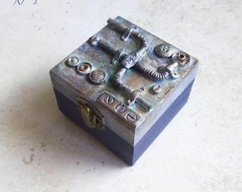 Steampunk Style box Jewel Box jeweler Wood