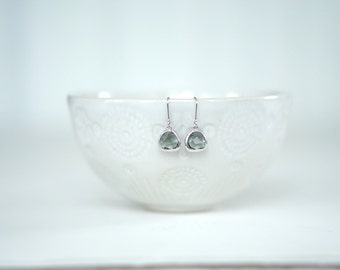 Dark Grey Gem and Silver Dangle Earrings