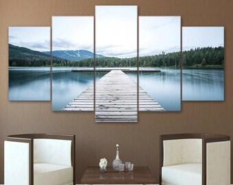5 panel canvas art lake landscape wall decor