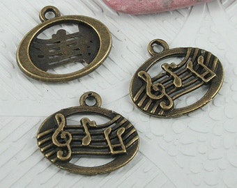 34pcs antiqued bronze color oval musical staff design charms EF0664