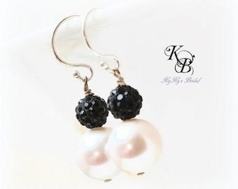 Black Earrings, Bridal Earrings, Black Crystal Earrings, Pearl Earrings, Sterling Silver Earrings, Black Earrings, Black and White Earrings