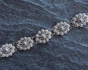 Filigree bracelet  Silver bracelet for women Filigree jewelry Sterling silver jewelry Link bracelet Womens bracelet Womens jewelry Vintage