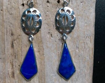 Native American Design Jewelry, Handcrafted Lapis and Sterling Earrings, Southwest Design Jewelry