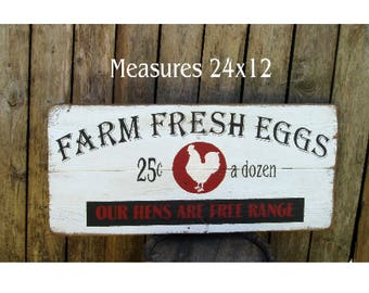Farm Fresh Eggs Our Hens our free range wood sign Fixer Upper Style Farmhouse reclaimed wood