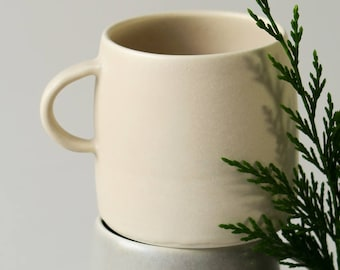 Stone mug - ceramic mug - satin matt cream mug - hand made pottery - large cup - stoneware - matt glaze - porcelain - tea mug - coffee mug