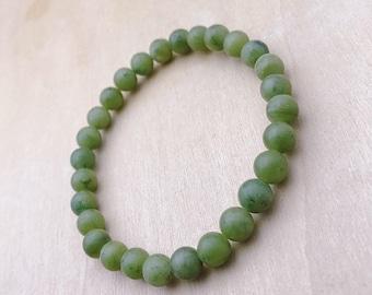 Green gemstone bracelet serpentine | Bead Bracelet | Mens Green Bracelet | Womens Bracelet | Yoga Stretch Bracelet | Gifts