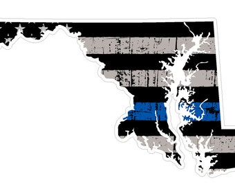 Maryland State (U21) Thin Blue Line Vinyl Yeti Tumbler Decal Sticker Laptop/Netbook