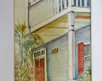 Key West watercolor, original watercolor , mat included