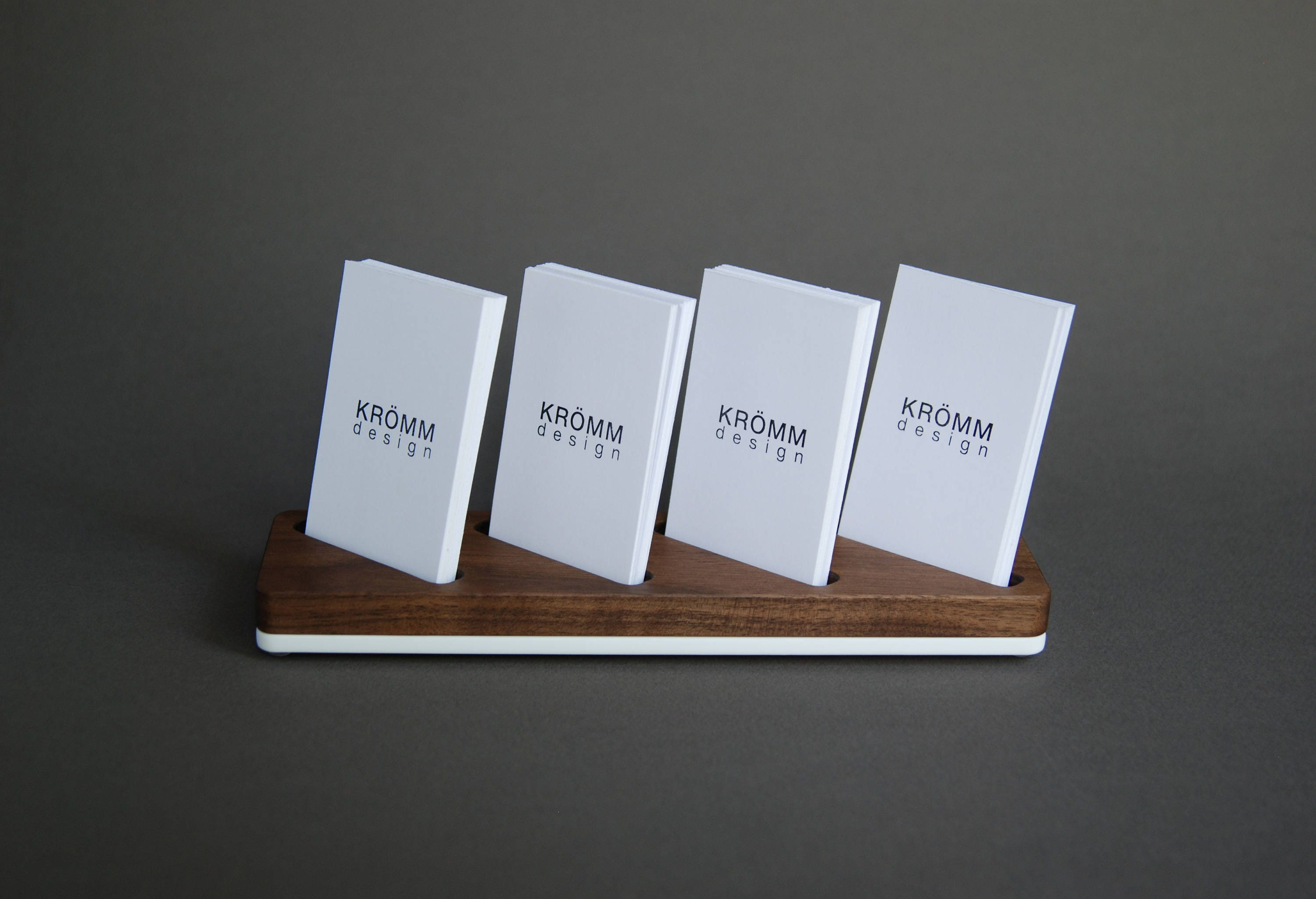 Fresh Wood Card Stand for Four Vertical Business Cards / Walnut Wood and  PY64