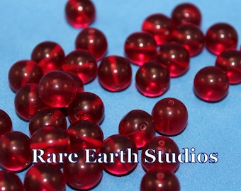 36 Vintage 11mm Red Glass Round Beads 60516038