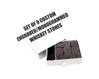 set of 9 whiskey stones, no melt whiskey rocks, personalized whiskey stones, engraved whiskey rocks, monogrammed whiskey stones