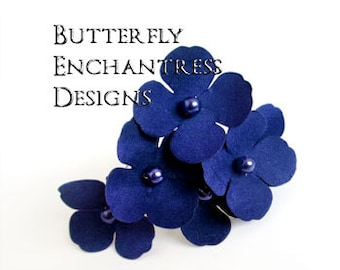 Something Blue, Royal Blue Hair Flowers, Beach Wedding Hair Accessories - 6 Cobalt Blue Adora Hydrangea Hair Pins