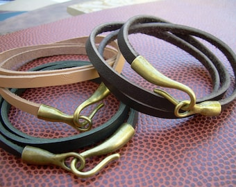 Triple Wrap leather Bracelet with Hook Clasp, Mens Jewelry, Mens Bracelet, Womens Bracelet, Womens Jewelry, Leather Bracelet, Mens Gift,