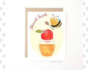Rosh Hashana Card ~ Shanah Tovah ~ Jewish New Year ~ Apples and Honey ~