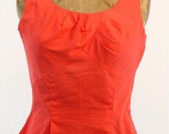 """1950s cotton top lipstick red 34"""" bust"""