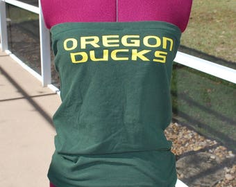 University of Oregon Ducks Upcycled Womens Strapless Top Shirt Size XSmall/Small